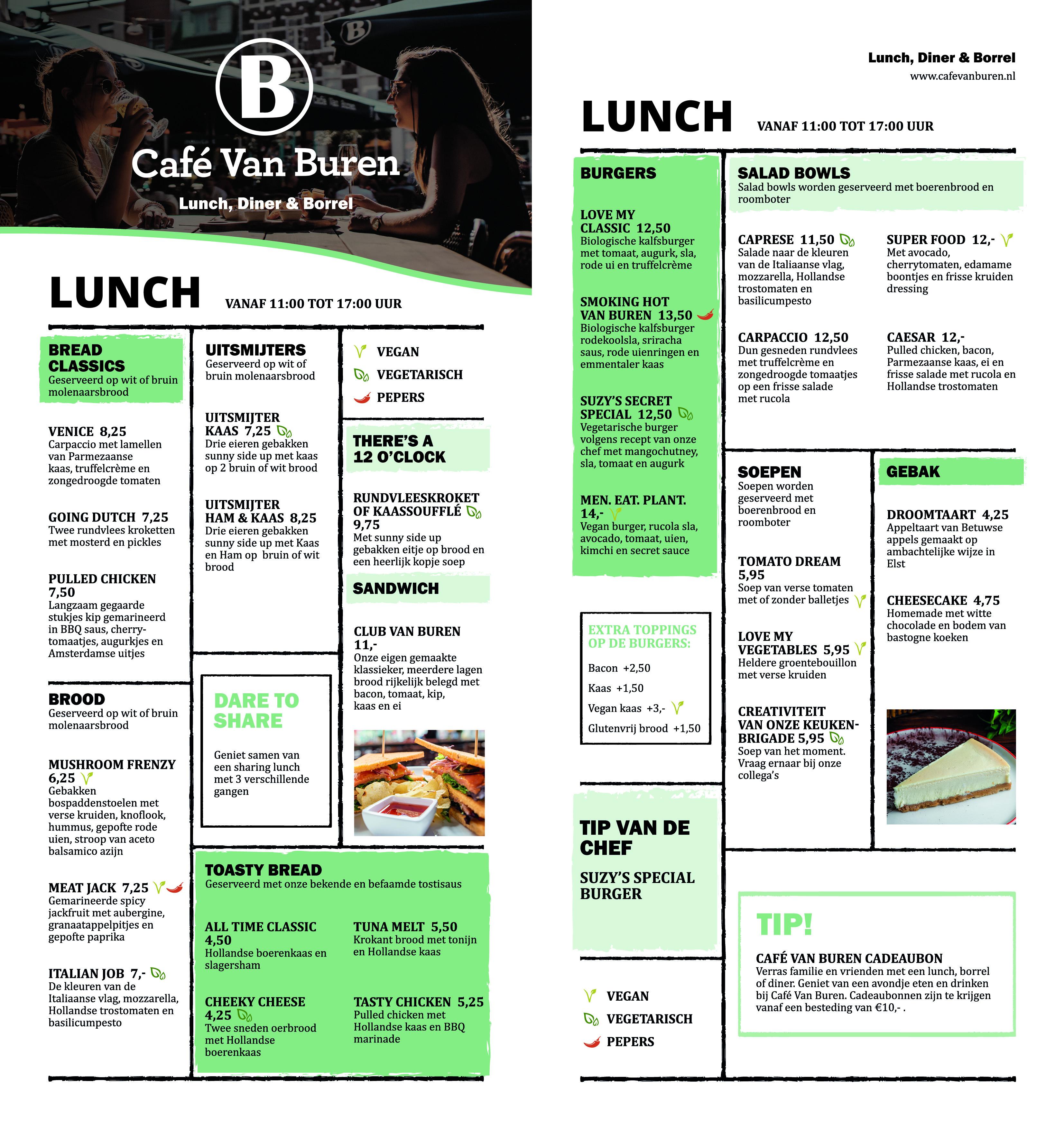 Café Van Buren menukaart lunch