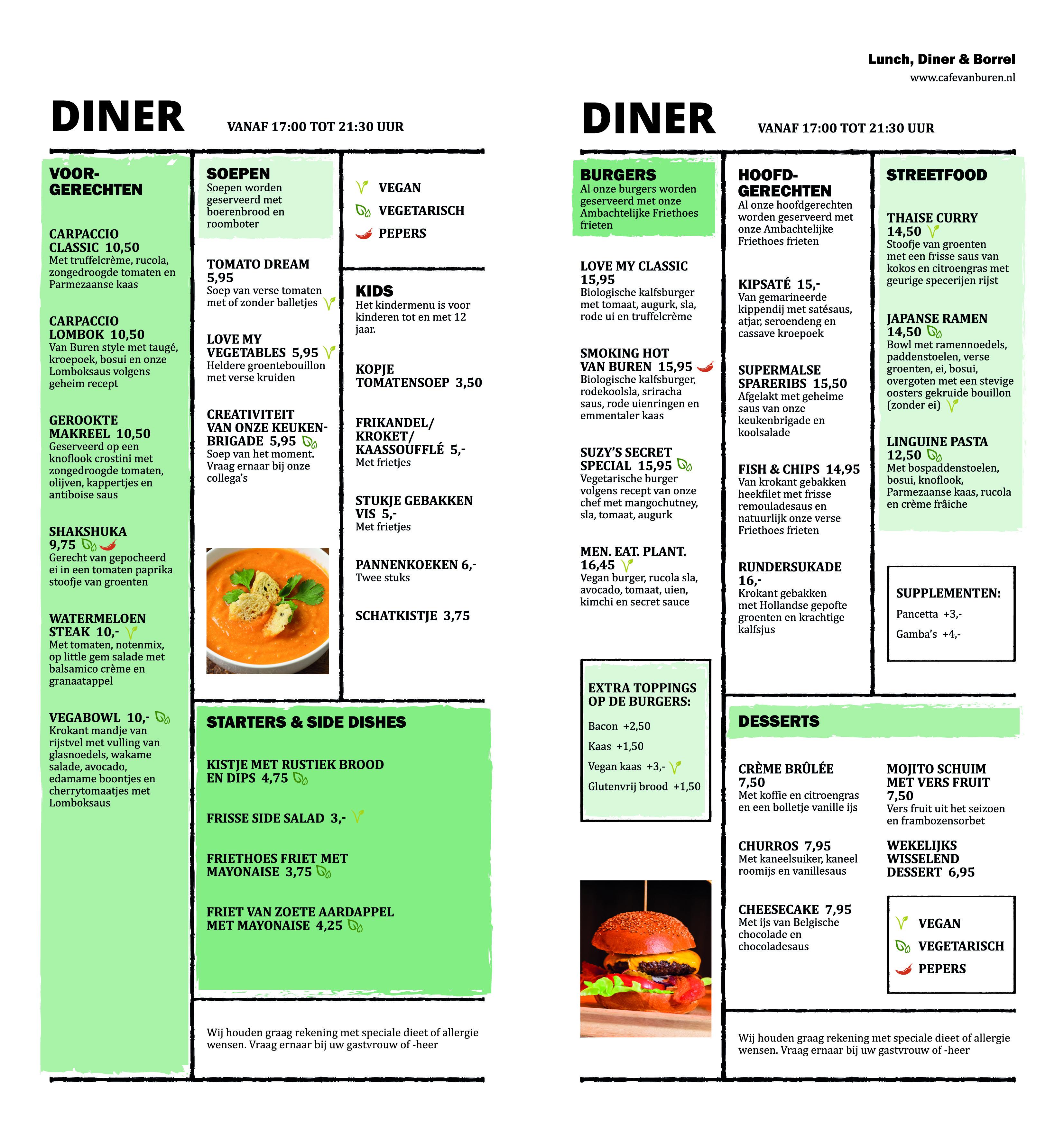 Café Van Buren menukaart diner